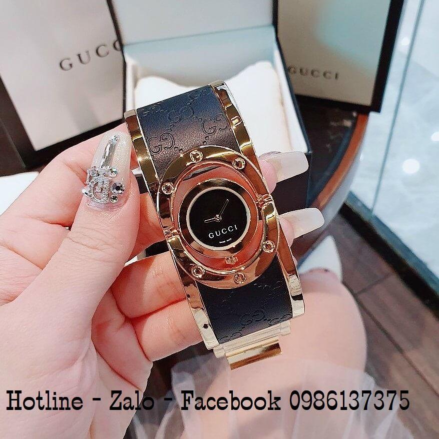 Đồng Hồ Lắc Tay Nữ Gucci Kiềng Bảng To Đen Vàng 36mm