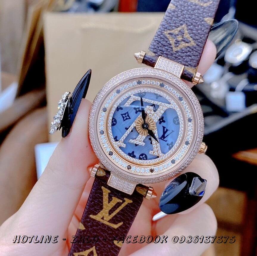 Đồng Hồ Louis Vuitton Nữ Dây Da Mặt Xoay Đồng Trục 37mm Rose Gold