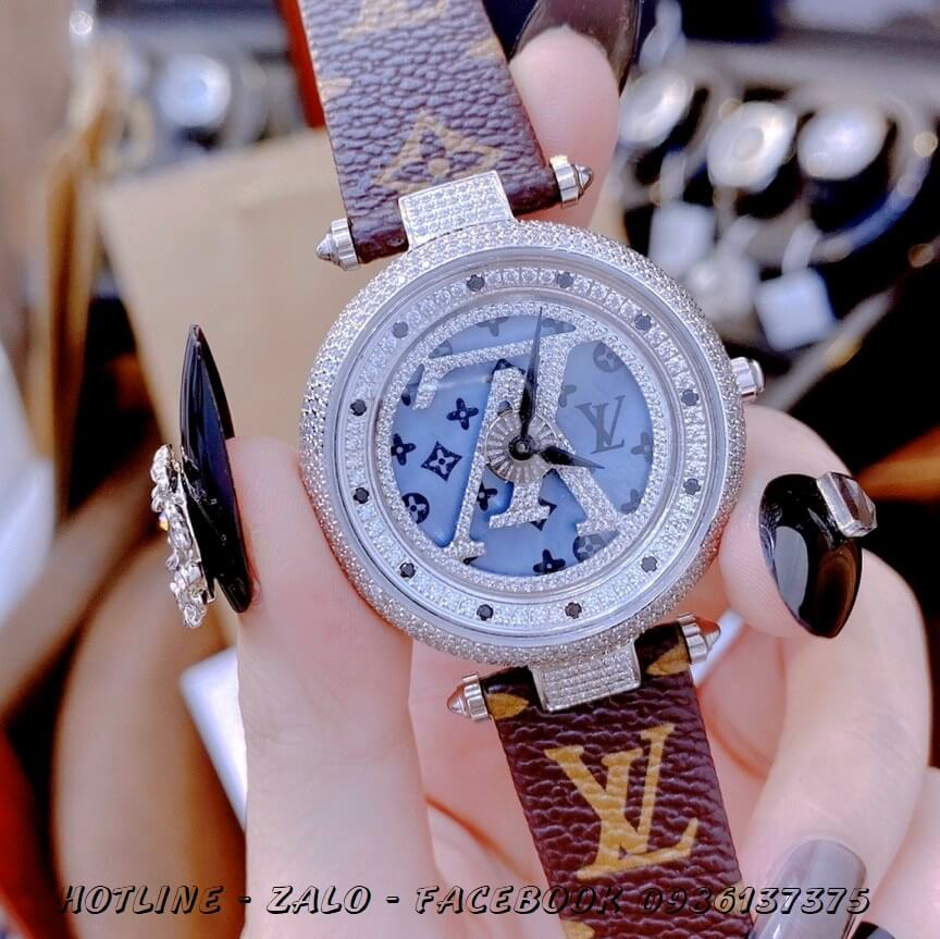 Đồng Hồ Louis Vuitton Nữ Dây Da Mặt Xoay Đồng Trục 37mm Silver