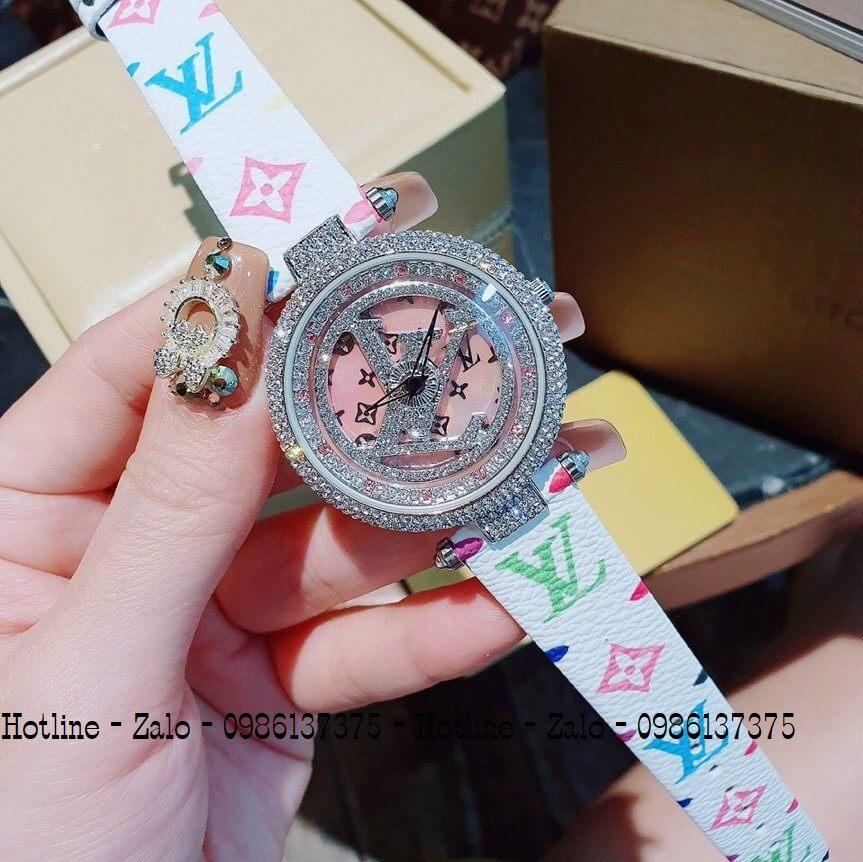 Đồng Hồ Louis Vuitton Nữ Mặt Xoay Dây Da Trắng 37mm Silver