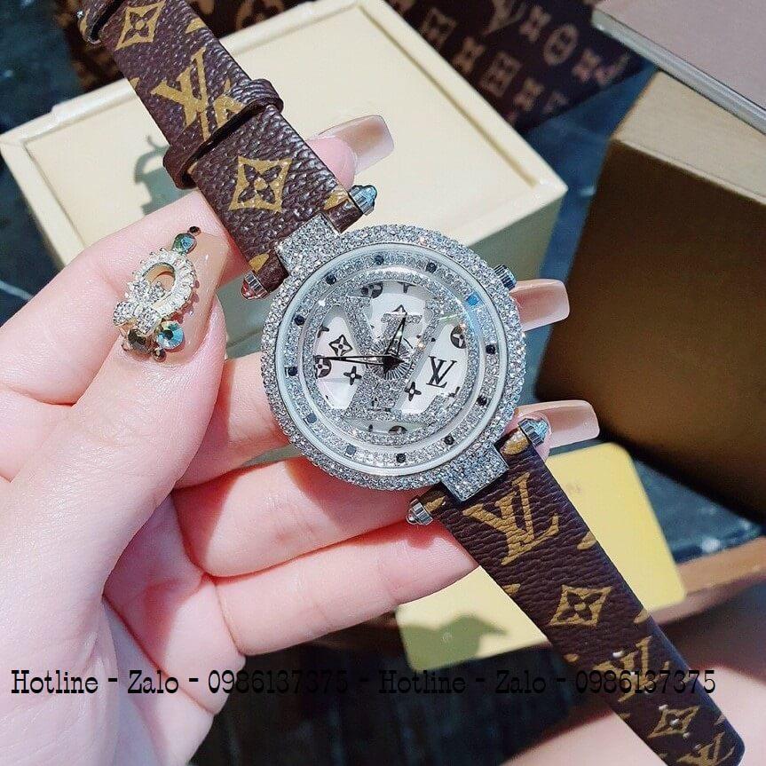 Đồng Hồ Louis Vuitton Nữ Mặt Xoay Dây Da Nâu 37mm Silver