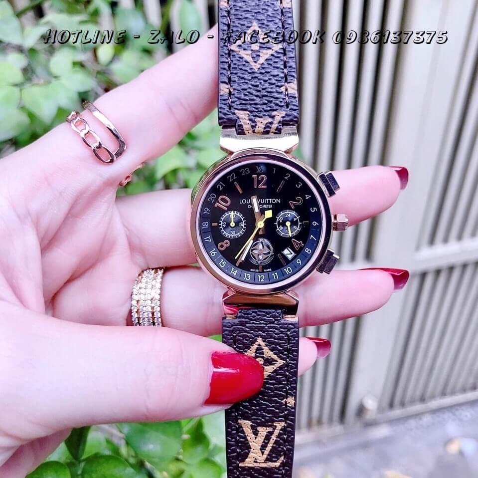 Đồng Hồ Louis Vuitton Nữ Dây Da 6 Kim 34mm