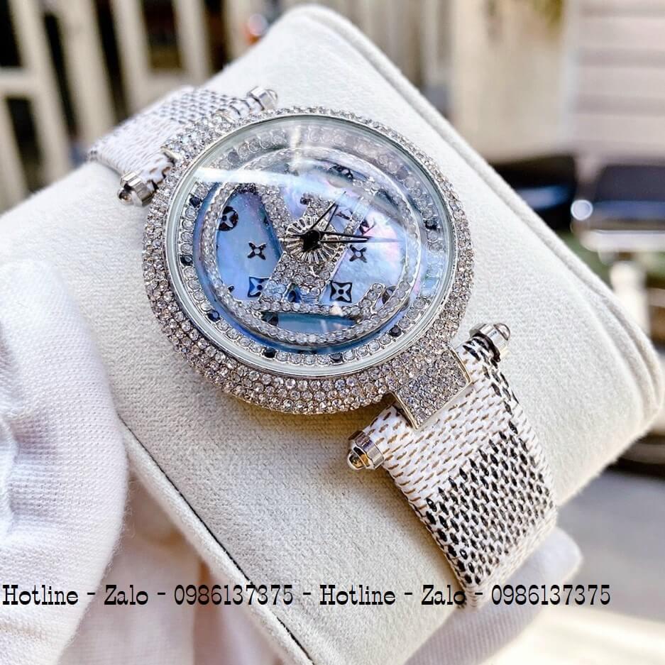 Đồng Hồ Louis Vuitton Nữ Mặt Xoay Dây Da Caro 37mm Silver