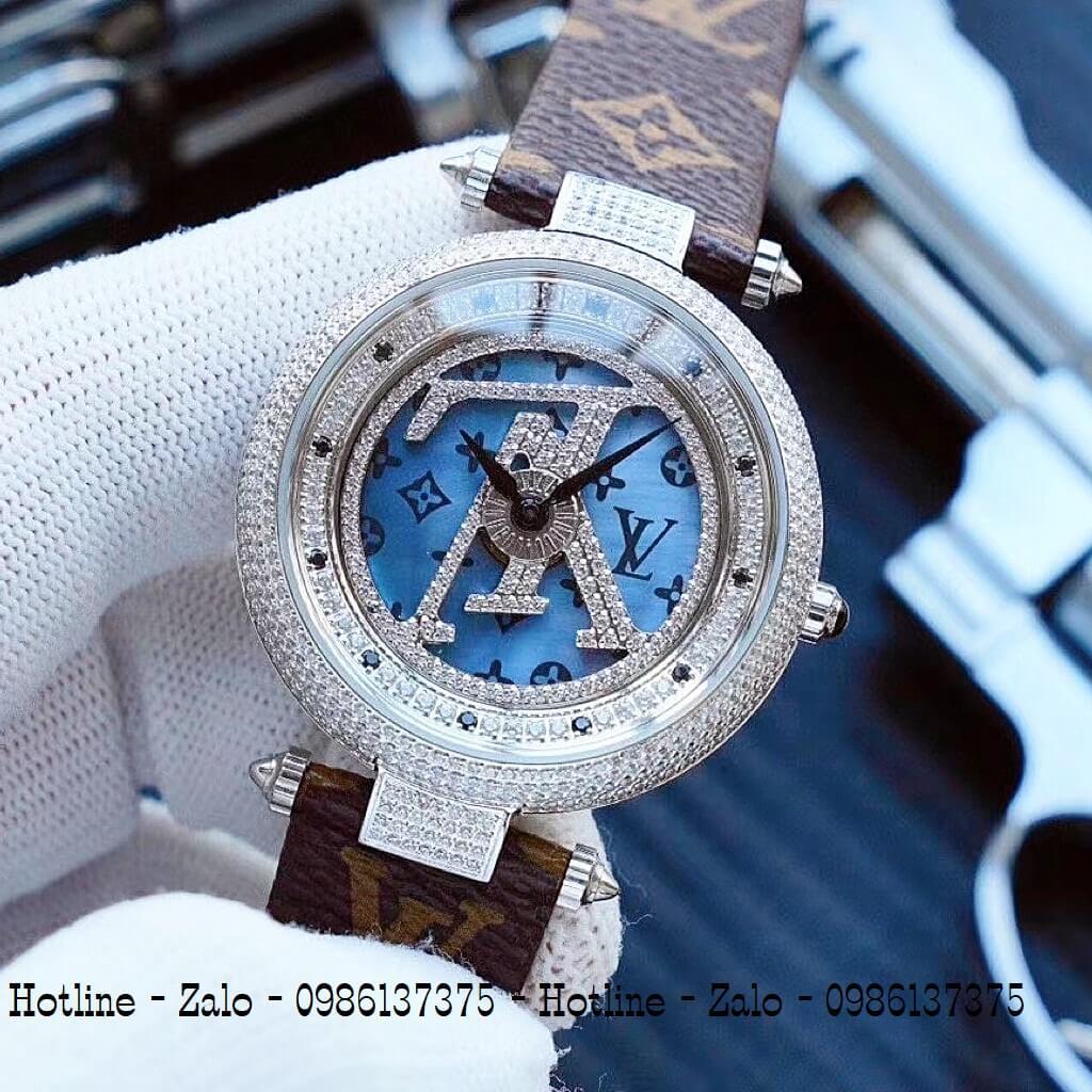 Đồng Hồ Louis Vuitton Nữ Dây Da Nâu Mặt Xoay 37mm Silver