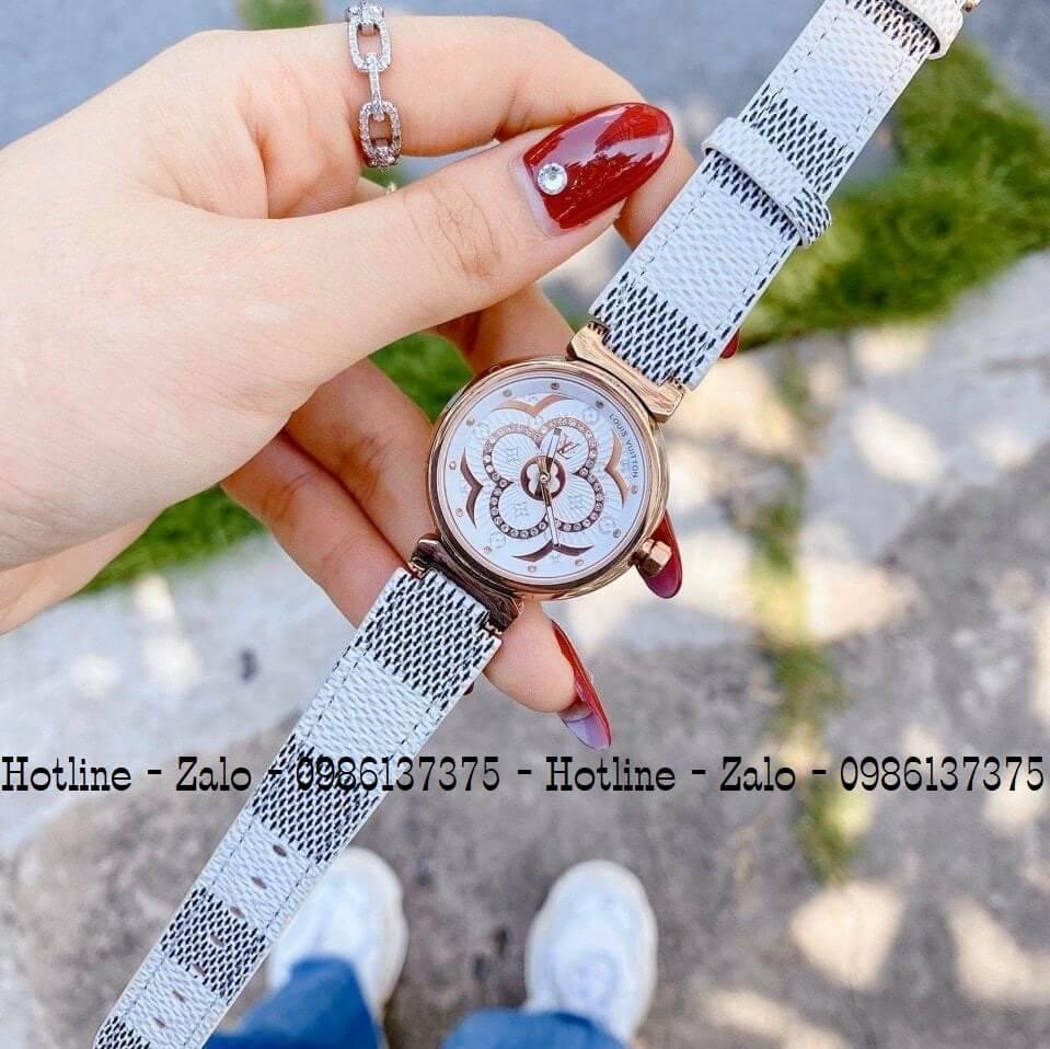 Đồng Hồ Louis Vuitton Nữ Dây Da LV Trắng 2 Kim 34mm