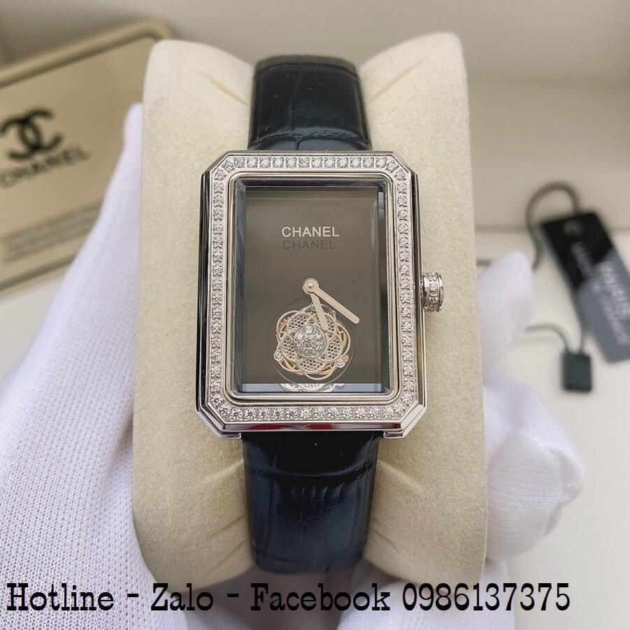 Đồng Hồ Nữ Chanel Premiere Dây Da Đen Mặt Vuông 28x37mm