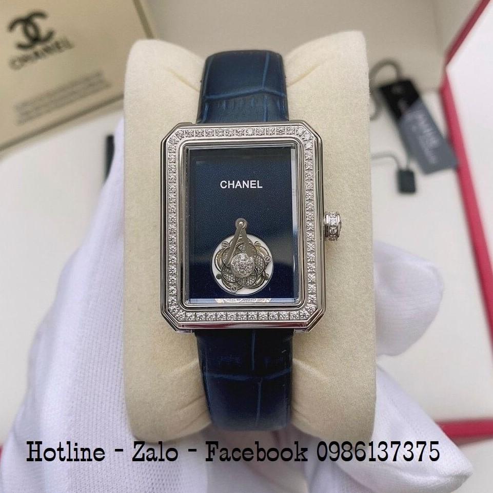Đồng Hồ Nữ Chanel Premiere Dây Da Xanh Đậm Mặt Vuông 28x37mm
