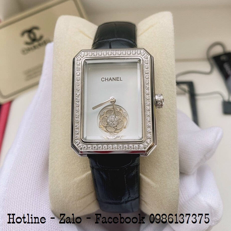 Đồng Hồ Nữ Chanel Premiere Dây Da Đen Mặt Trắng Vuông 28x37mm