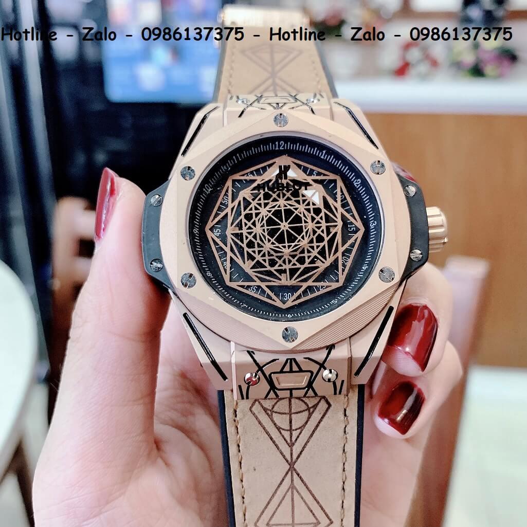 Đồng Hồ Hublot Big Bang Sang Bleu Automatic Nam Dây Da Silicon Nâu 44mm Rose Gold