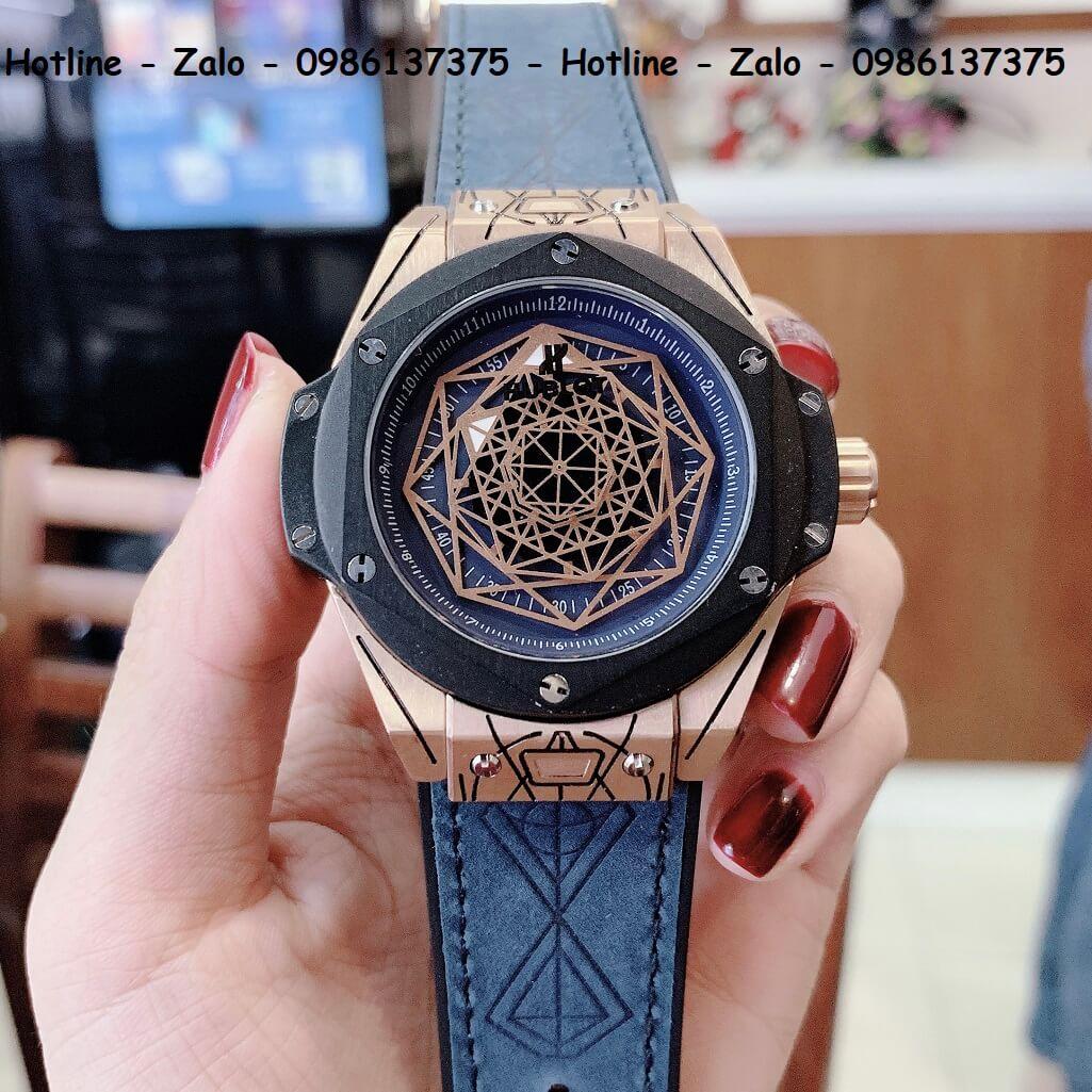 Đồng Hồ Hublot Big Bang Sang Bleu Automatic Nam Dây Da Silicon Xanh 44mm