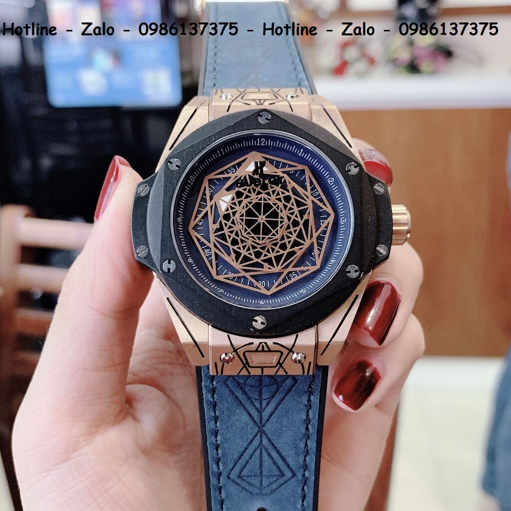 Đồng Hồ Hublot Big Bang Sang Bleu Automatic Nam Dây Da Silicon Xanh 44mm Rose Gold