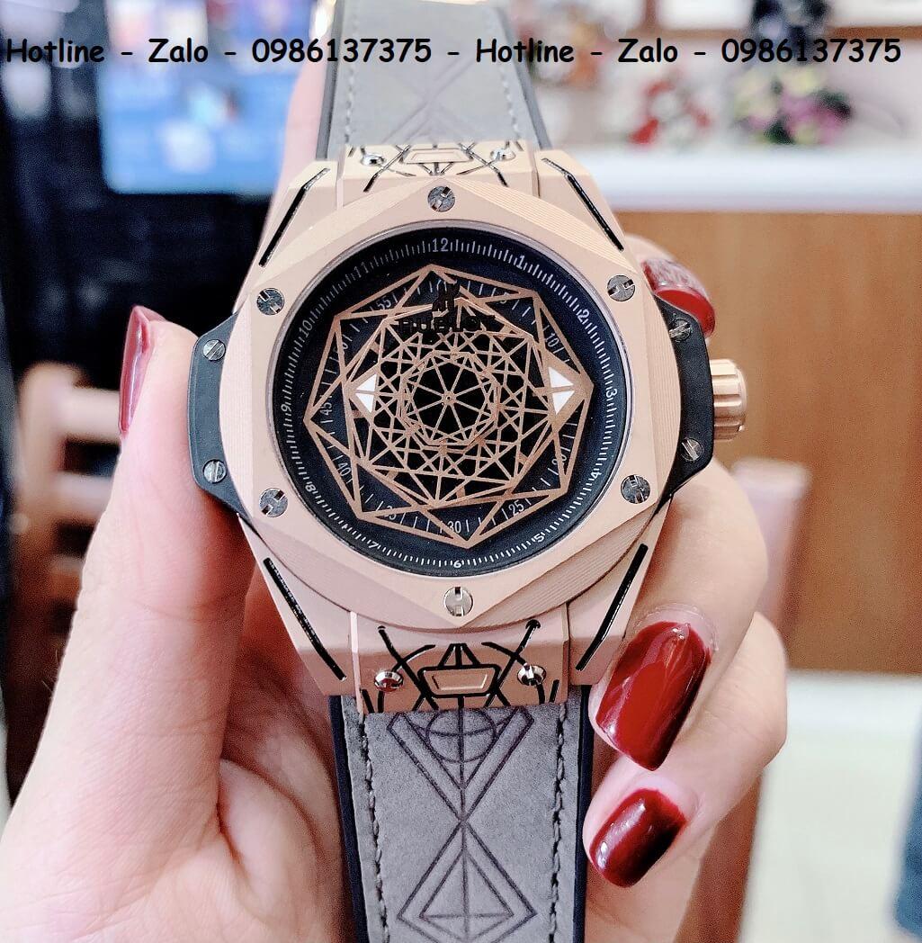 Đồng Hồ Hublot Big Bang Sang Bleu Automatic Nam Dây Da Silicon Xám 44mm Rose Gold