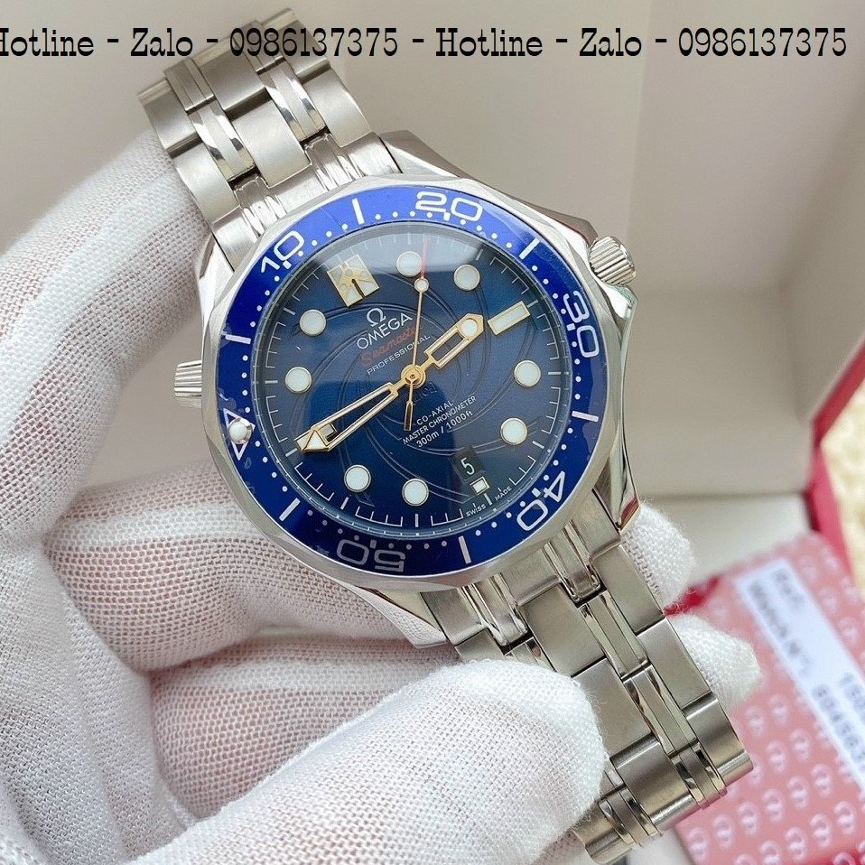 Đồng Hồ Nam OMEGA 007 Automatic Dây Bạc Mặt Blue 40mm