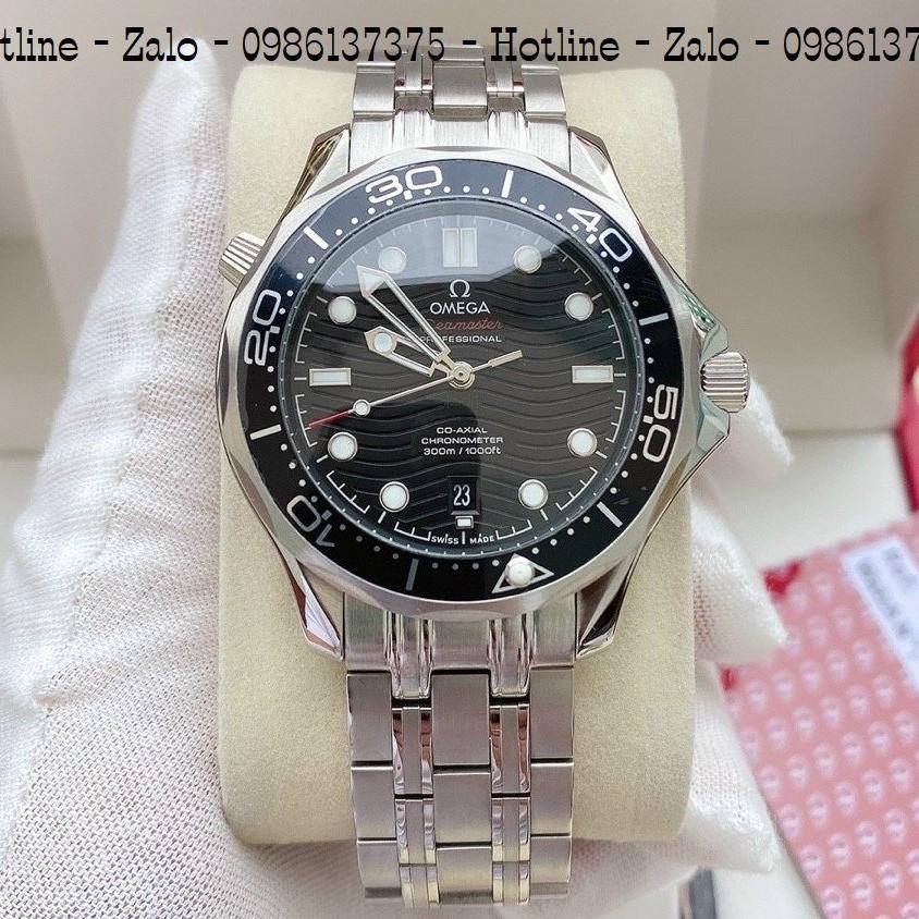 Đồng Hồ Nam OMEGA 007 Automatic Dây Bạc Mặt Đen 40mm