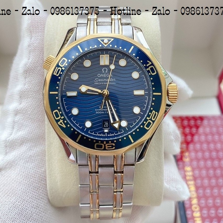 Đồng Hồ Nam OMEGA 007 Automatic Dây Demi Mặt Blue 40mm