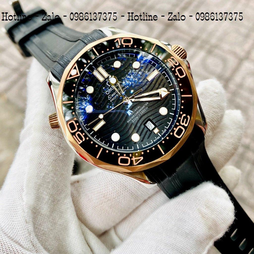 Đồng Hồ Nam OMEGA 007 Automatic Dây Silicon Đen Mặt Đen 40mm