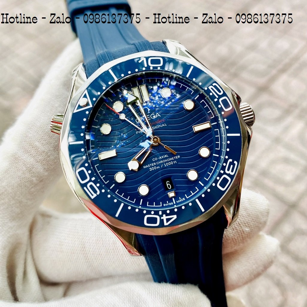 Đồng Hồ Nam OMEGA 007 Automatic Dây Silicon Xanh Mặt Xanh 40mm
