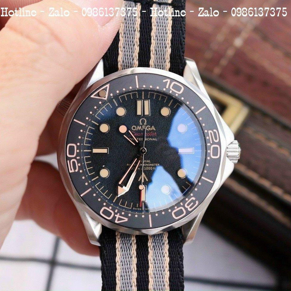 Đồng Hồ Nam OMEGA 007 Dây Nato Mặt Đen Silver 40mm