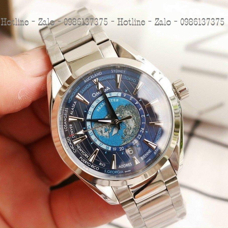 Đồng Hồ Nam OMEGA Automatic Dây Bạc Mặt Blue 42mm