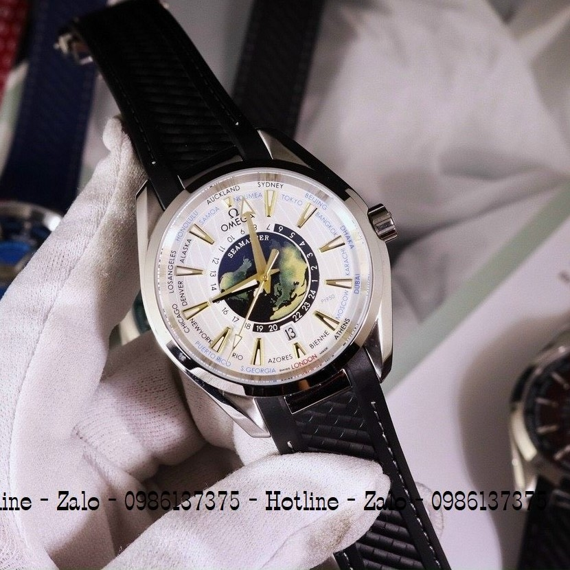 Đồng Hồ Nam OMEGA Automatic Dây Silicon Đen Mặt Trắng 42mm