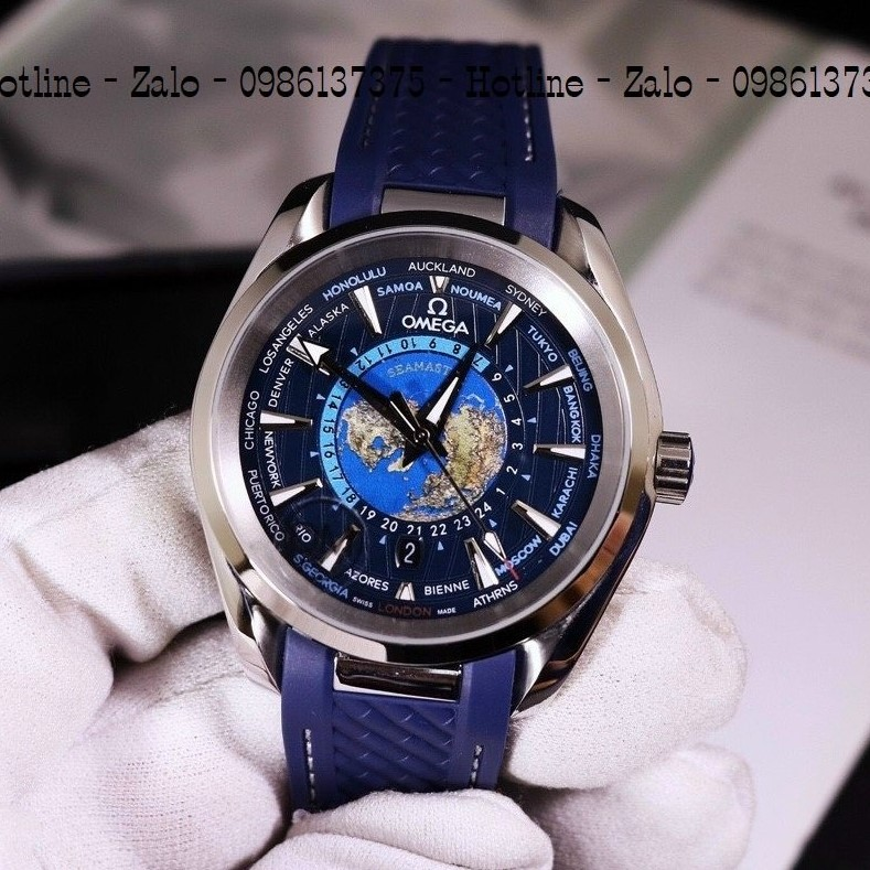 Đồng Hồ Nam OMEGA Automatic Dây Silicon Xanh Mặt Xanh 42mm