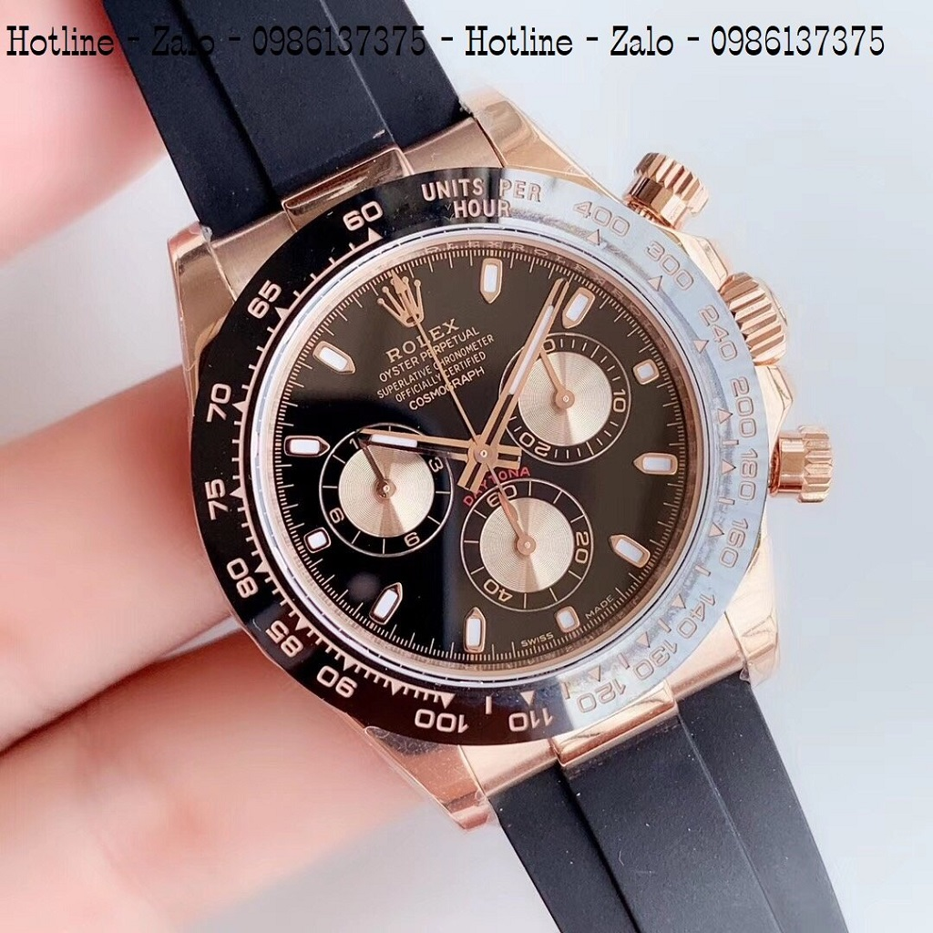 Đồng Hồ Nam Rolex Automatic Dây Silicon ĐenMặt Đen Rose Gold42mm