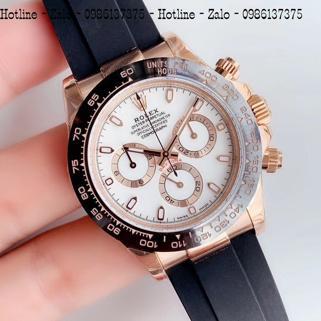 Đồng Hồ Nam Rolex Automatic Dây Silicon ĐenMặt Trắng Rose Gold42mm
