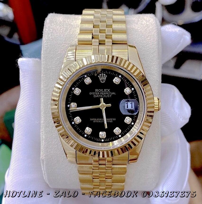 Đồng Hồ Nam Rolex Oyster Datejust Automatic Vàng Mặt Đen 41mm