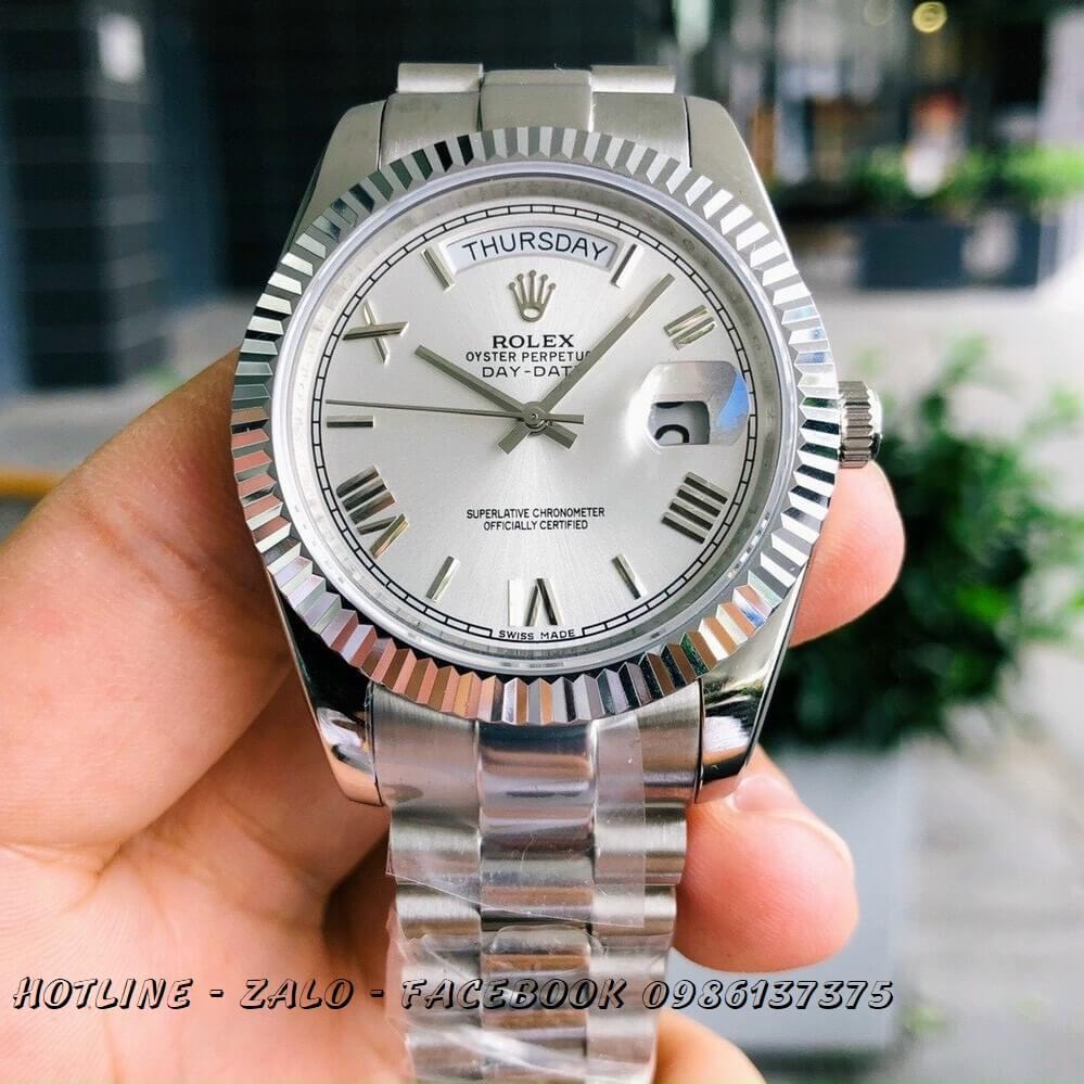 Đồng Hồ Nam Rolex Oyster Datejust Automatic Bạc Mặt Gạch 41mm