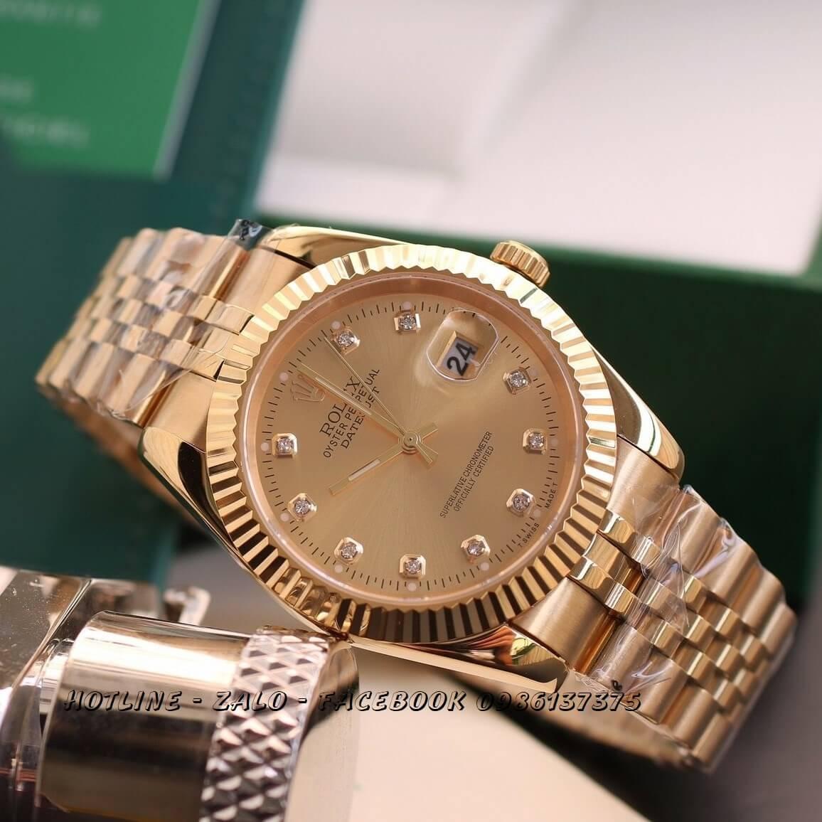 Đồng Hồ Nam Rolex Oyster Datejust Quartz Vàng Mặt Vàng 38mm