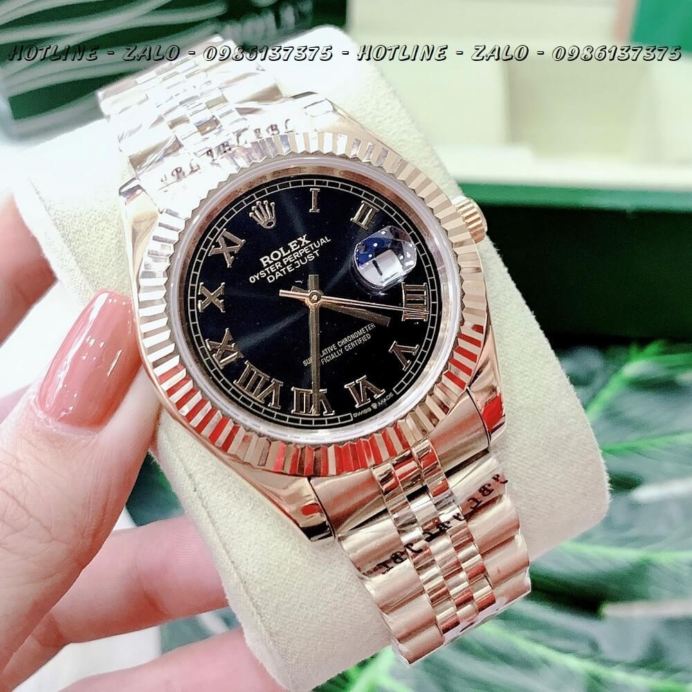 Đồng Hồ Nam Rolex Automatic Tự Động Vàng Đen Mặt Số La Mã 41mm