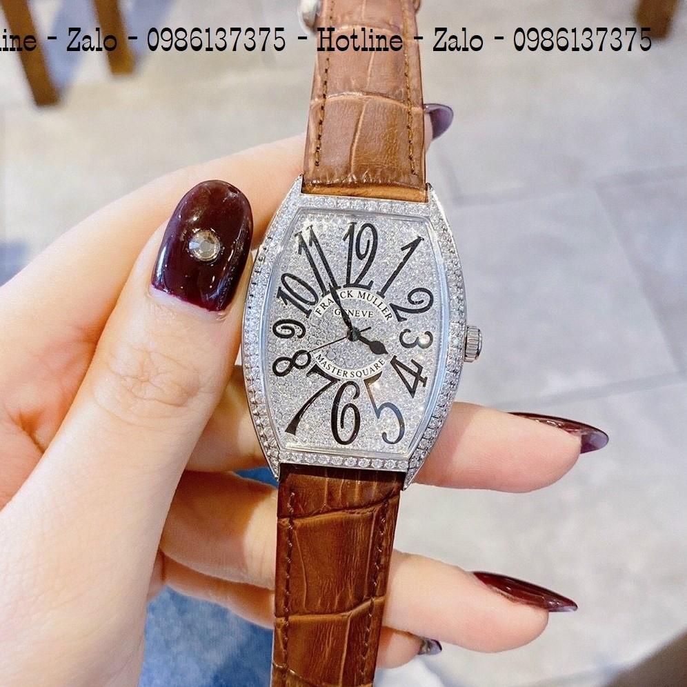 Đồng Hồ Nữ Franck Muller Dây Da Nâu Silver 34mm