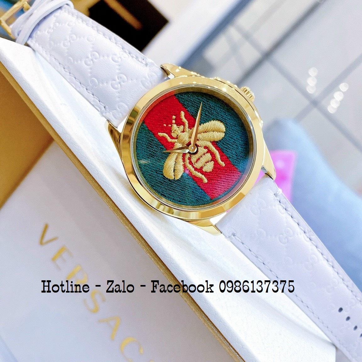Đồng Hồ Nữ Gucci Ong Dây Da Trắng Gold 36mm