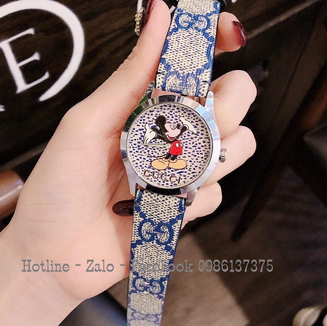 Đồng Hồ Nữ Gucci Disney Dây Da Xám Xanh 37mm Vỏ Bạc