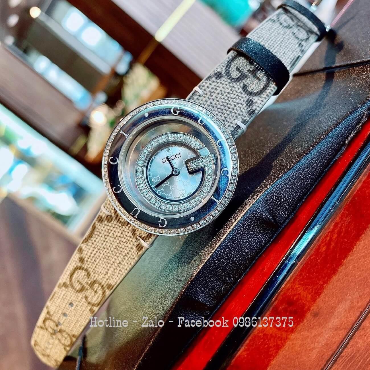 Đồng Hồ Nữ Gucci Dây Da Mặt Đính Đá Silver 38mm