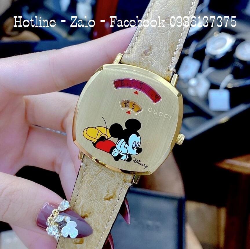 Đồng Hồ Nữ Gucci Disney Dây Da Nâu Vàng 34x34mm Siêu Cấp