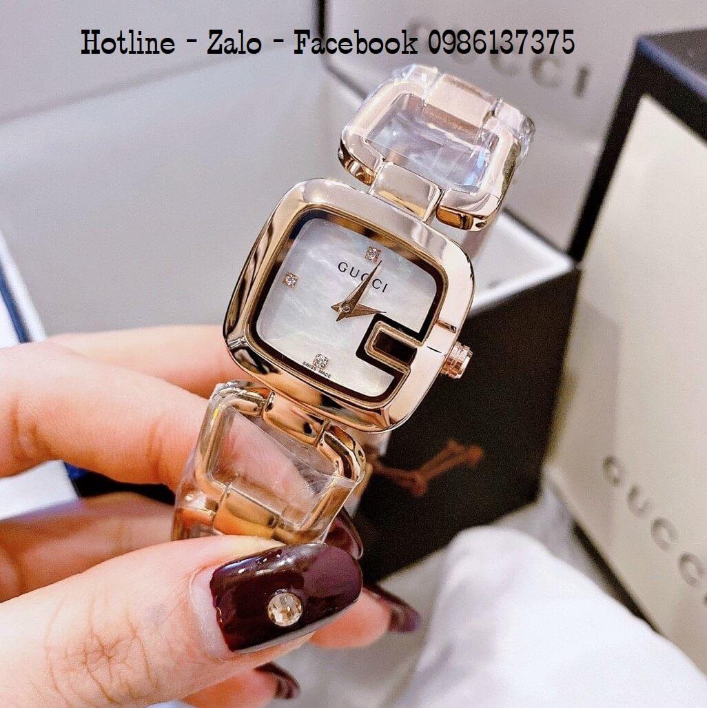 Đồng Hồ Nữ Gucci Lắc Tay Rose Gold Siêu Cấp 28mm