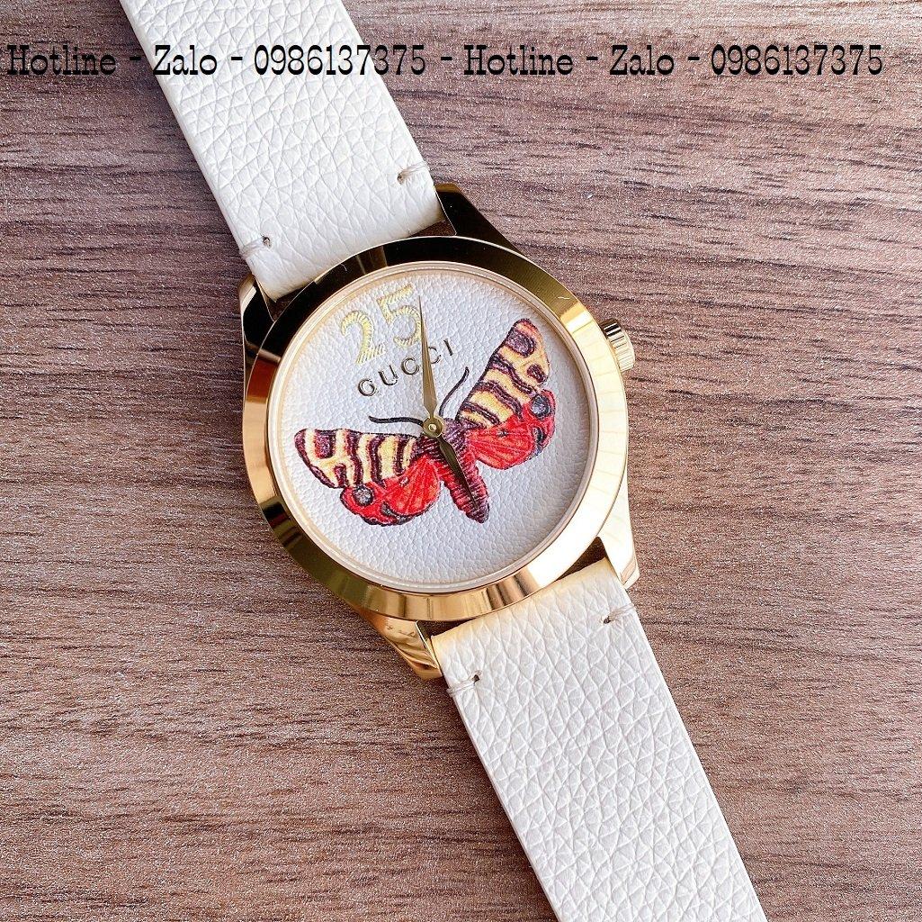Đồng Hồ Nữ Gucci Dây Da Kem Mặt Ong 37mm YA1264062