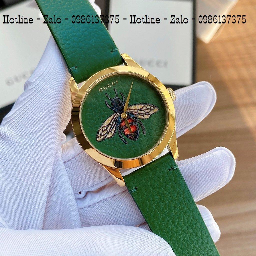 Đồng Hồ Nữ Gucci Dây Da Xanh Mặt Ong 37mm YA1264065