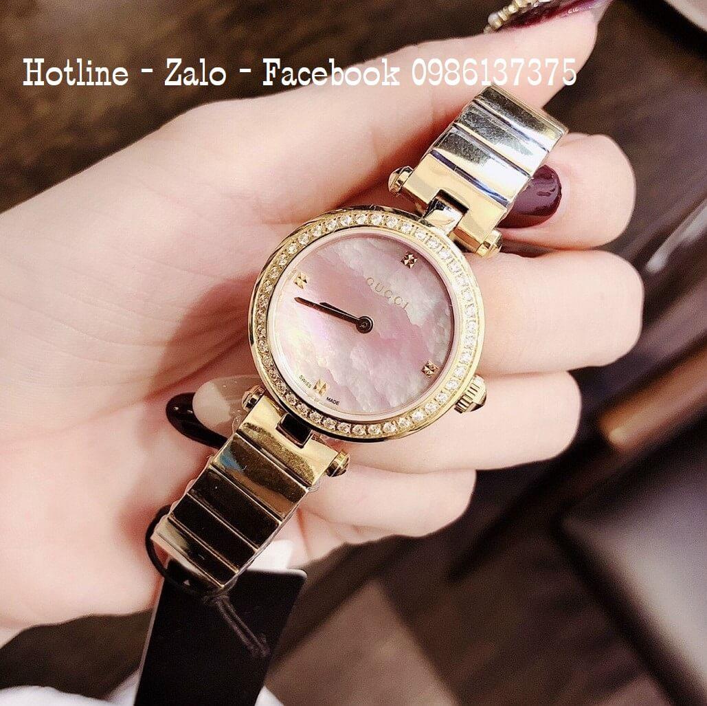 Đồng Hồ Nữ Gucci Siêu Cấp Vàng Mặt Hồng 28mm