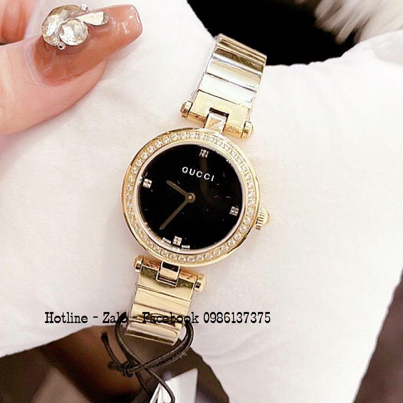Đồng Hồ Nữ Gucci Siêu Cấp Đính Đá Vàng Mặt Đen 28mm