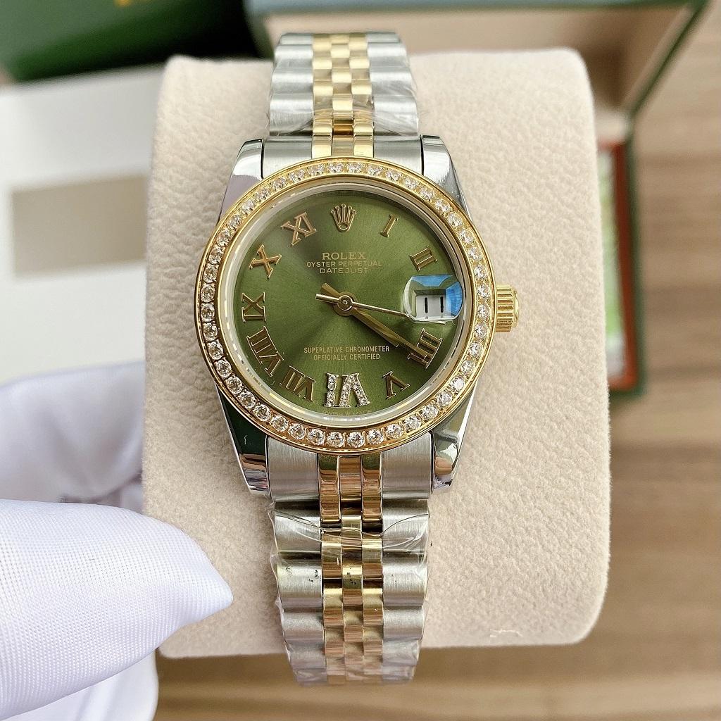 Đồng Hồ Nữ Rolex Automatic Demi Xanh Lá 31mm