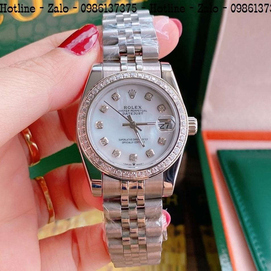 Đồng Hồ Nữ Rolex Viền Đá Dây Bạc Mặt Trắng Ngọc 32mm