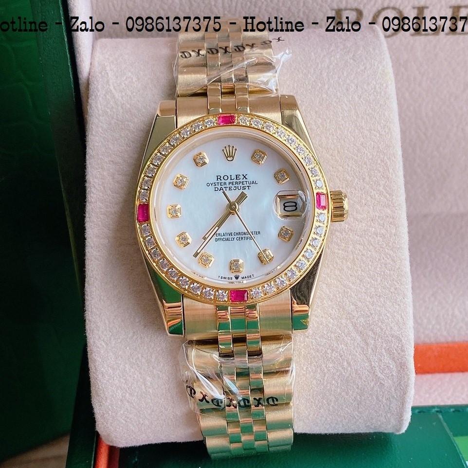 Đồng Hồ Nữ Rolex Viền Đá Dây Vàng Mặt Trắng Ngọc 32mm