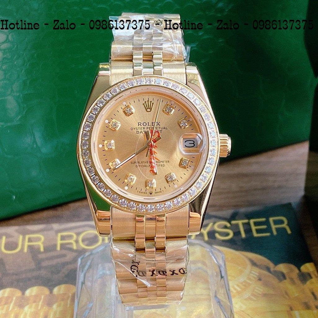 Đồng Hồ Nữ Rolex Viền Đá Dây Vàng Mặt Vàng 32mm