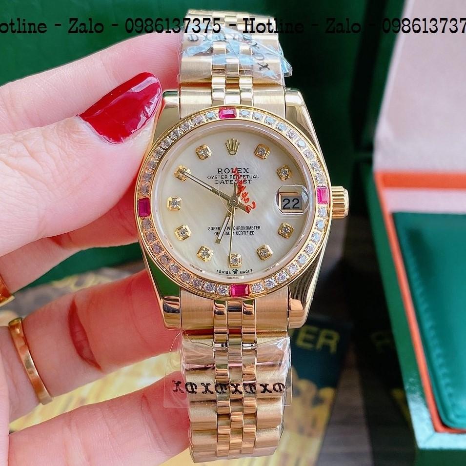 Đồng Hồ Nữ Rolex Viền Đá Dây Vàng Mặt Vàng Ngọc 32mm