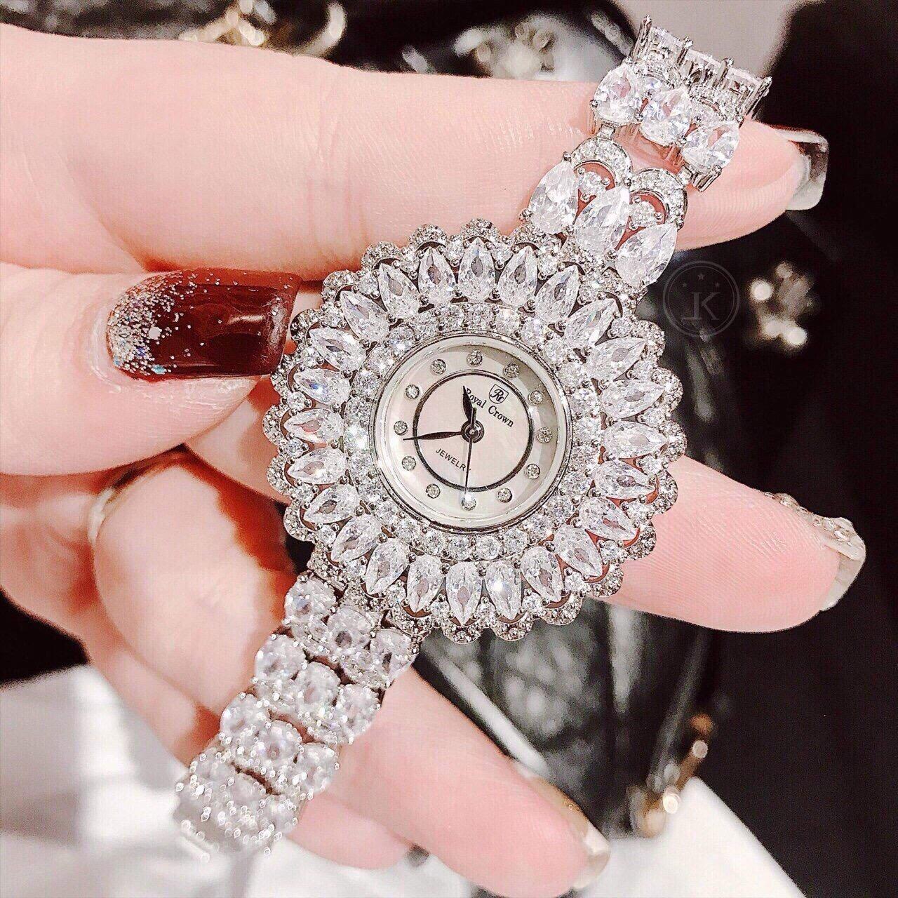 Đồng Hồ Nữ Royal Crown 6804 Hoa Tuyết Đính Đá Chính Hãng 36mm