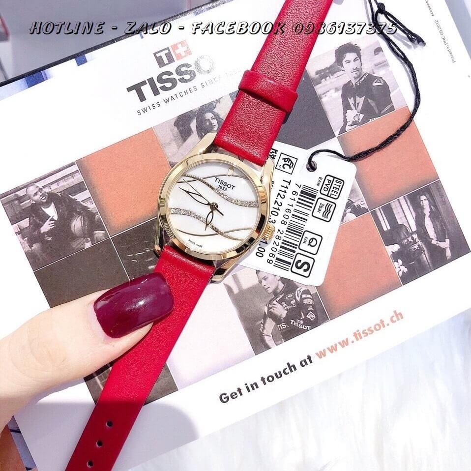 Đồng Hồ Tissot Nữ Dây Da Đỏ Cao Cấp 33mm