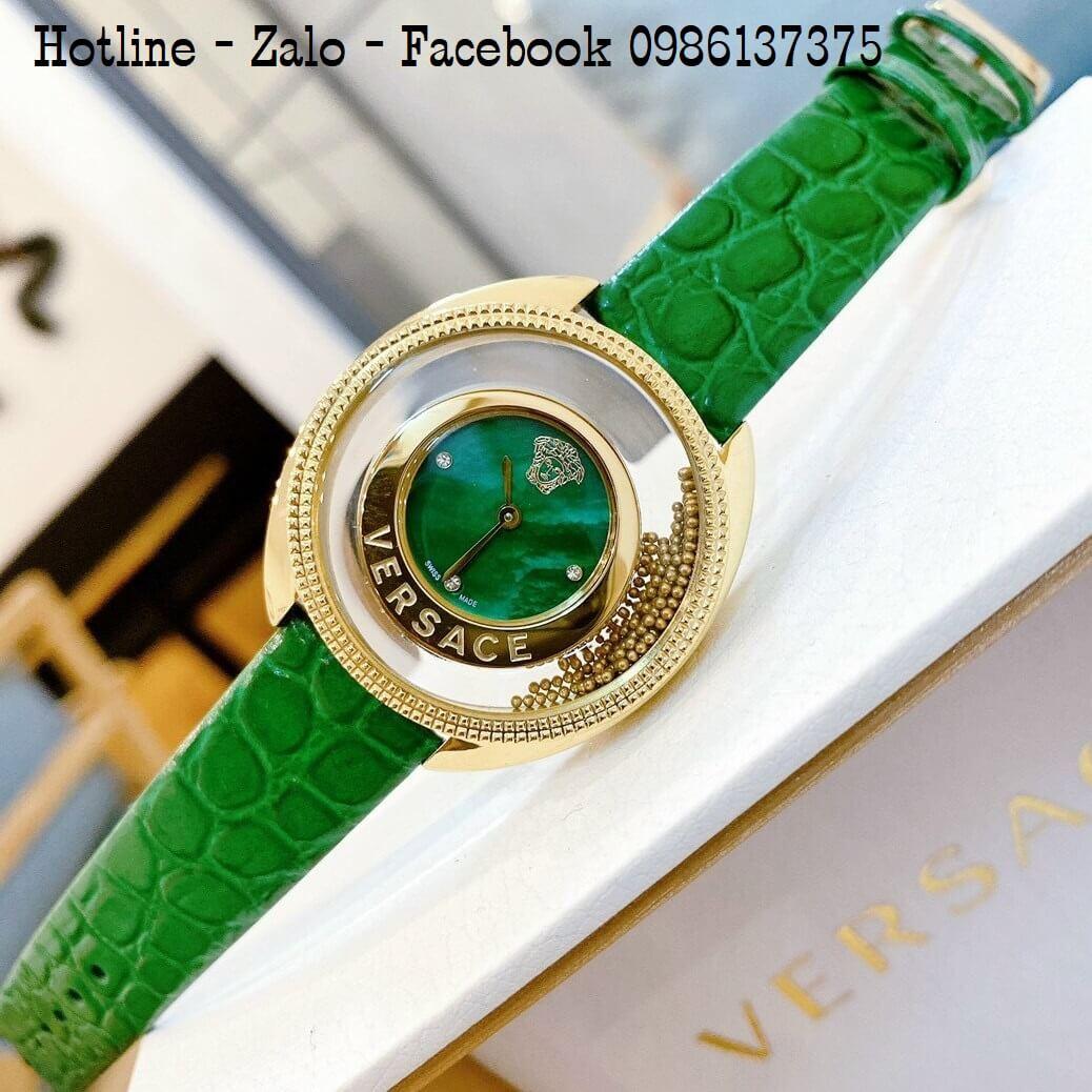 Đồng Hồ Nữ Versace Destiny Oval Dây Da Xanh Green 37mm