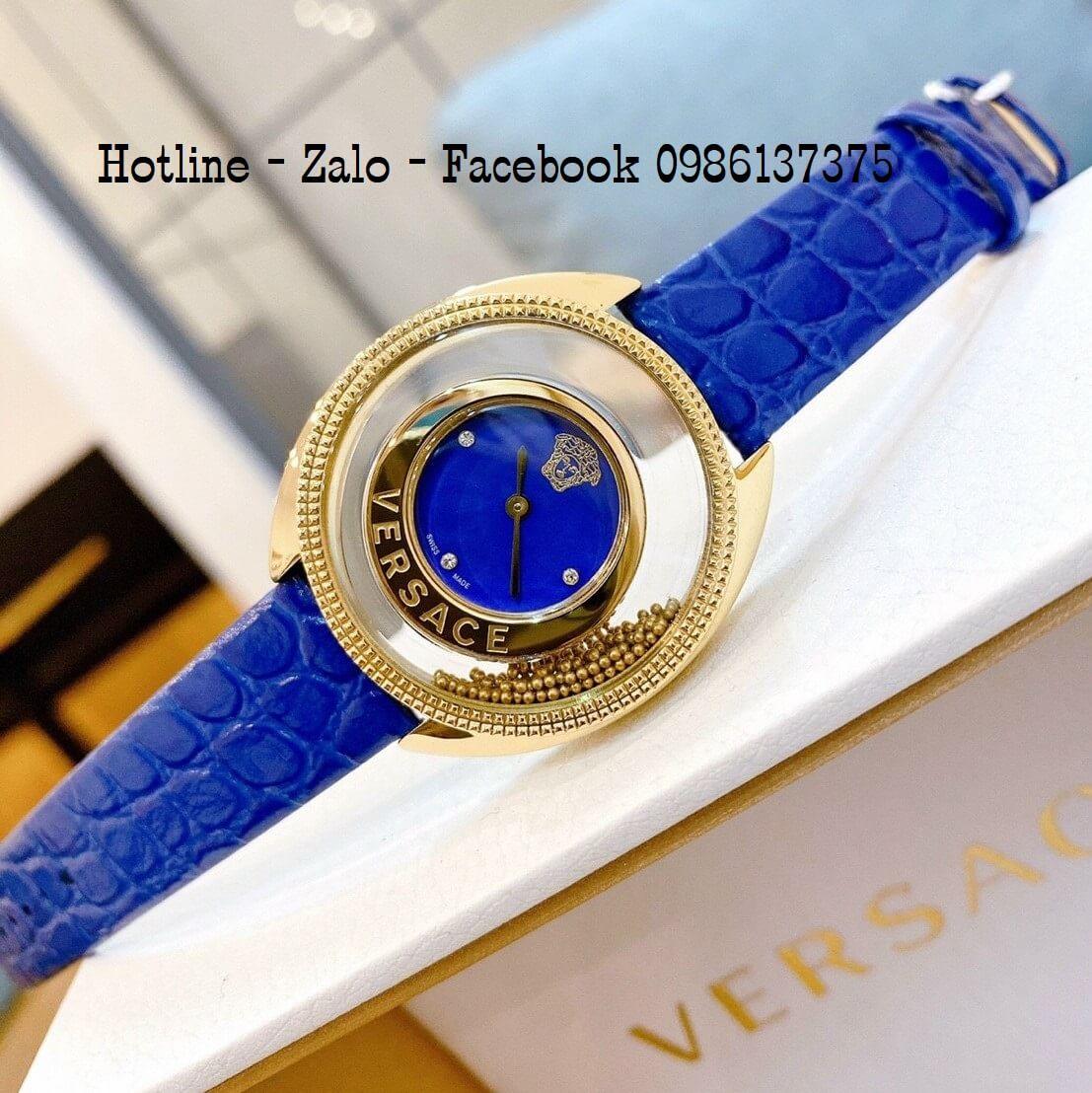 Đồng Hồ Nữ Versace Destiny Oval Dây Da Xanh Blue 37mm